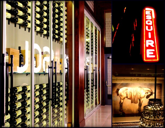 """Del Frisco's Double Eagle Steak House Chicago -  The """"Esquire"""" theater marquee hang proudly in the main floor lobby.  Adjacent to the signage, a beautiful five hundred magnum wine wall serves as prelude to a two-story glass wine tower."""