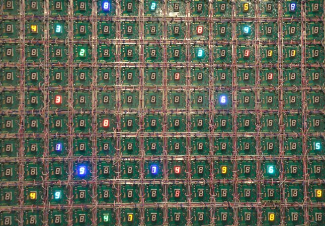 "Tatsuo Miyajima, ""Life (rhizome) No. 5"", 2012, LED, IC, microcomputer by Ikegami program, electric wire, passive sensor, stainless steel frame"