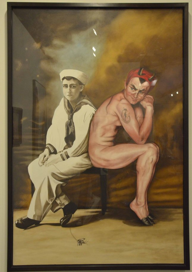 "Marianna Gartner, ""Seated sailor and Devil"", 2008, Oil on Canvas, Gallery: Galerie Michael Haas"