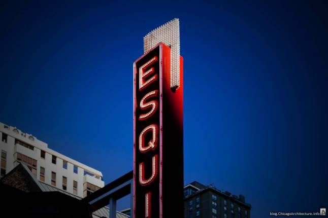"""The Famous """"Esquire Theater"""" Signage at the new Del Frisco's Double Eagle Steakhouse in Chicago, Ill."""