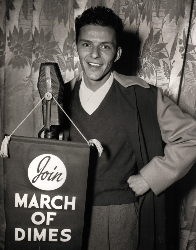 Frank Sinatra supporting the March of Dimes, 1946
