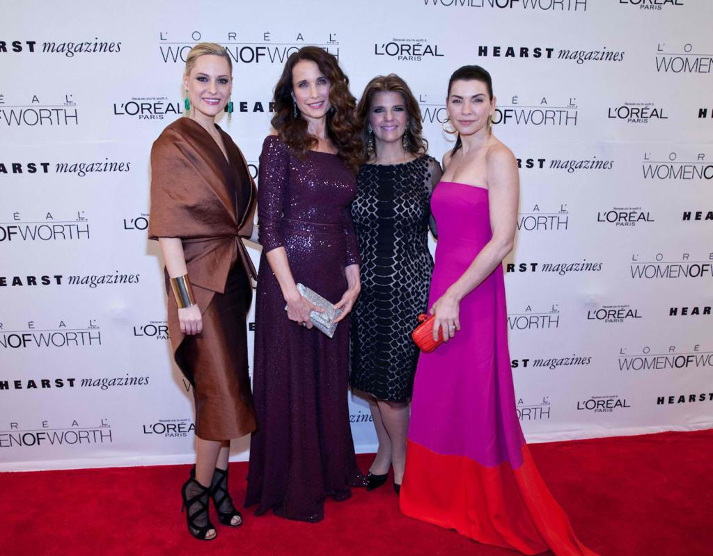 L'OREAL PARIS SPOKESPEOPLE, ANDIE MACDOWELL, JULIANNA MARGULIES and AIMEE MULLINS with KAREN FONDU, PRESIDENT OF L'OREAL PARIS at the SEVENTH ANNUAL WOMEN OF WORTH AWARDS at the HEARST TOWER.