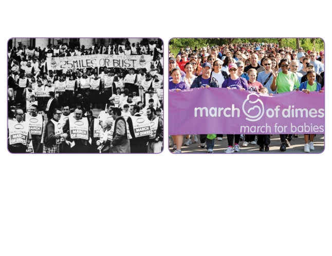 March of Dimes Pioneering Fundraiser (in the 1970's, left)