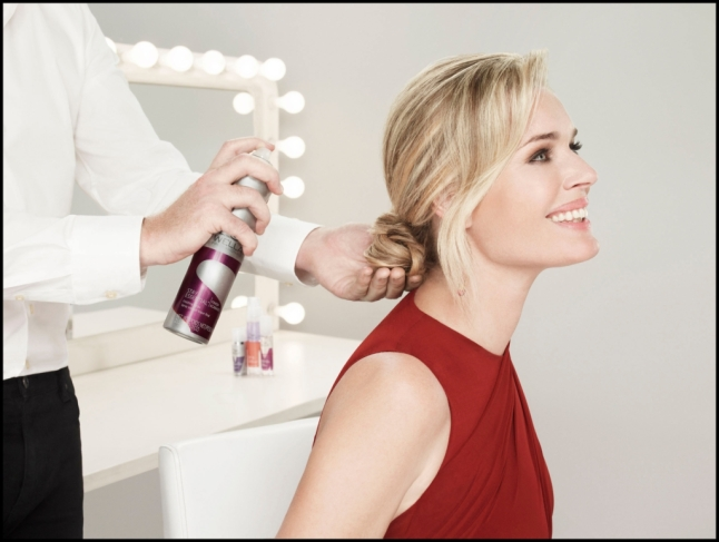 Wella Professionals Stay Essential Finishing Spray completes the look for Celebrity Ambassador Rebecca Romijn.  (PRNewsFoto/Wella Professionals)