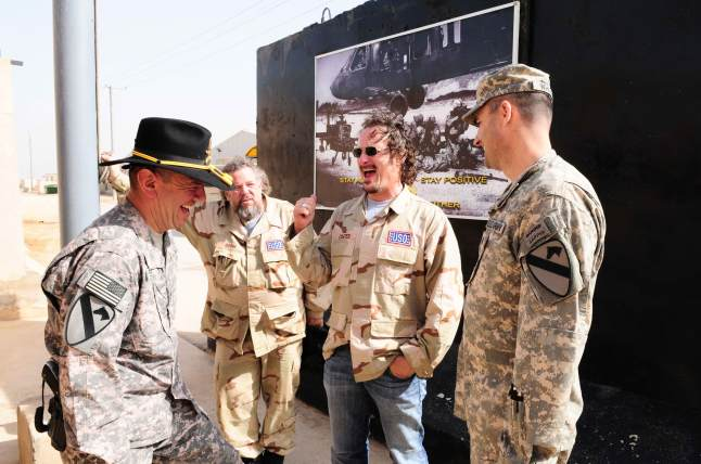 ''Sons of Anarchy'' star Kim Coates shares some laughs with troops on his first USO tour to Kuwait in Iraq, March 14, 2010.