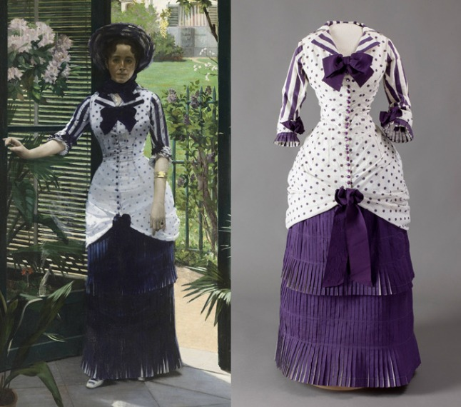 On the left, In the Conservatory, showing Madame Bartholome painted by her husband Albert Bartholome, 1880. On the right, the dress worn by his wife in the painting. Currently on display together at the Musee D'Orsay exhibition Impressionisme et la Mode. Madame Bartholome, here dressed fashionably in a department store made dress of plum polka dots on white cotton with extensive skirt pleats, died not long after this image was painted. In his grief, Albert preserved the dress to honor her memory. The painting was acquired by the D'Orsay in 1991. The dress was acquired the following year.