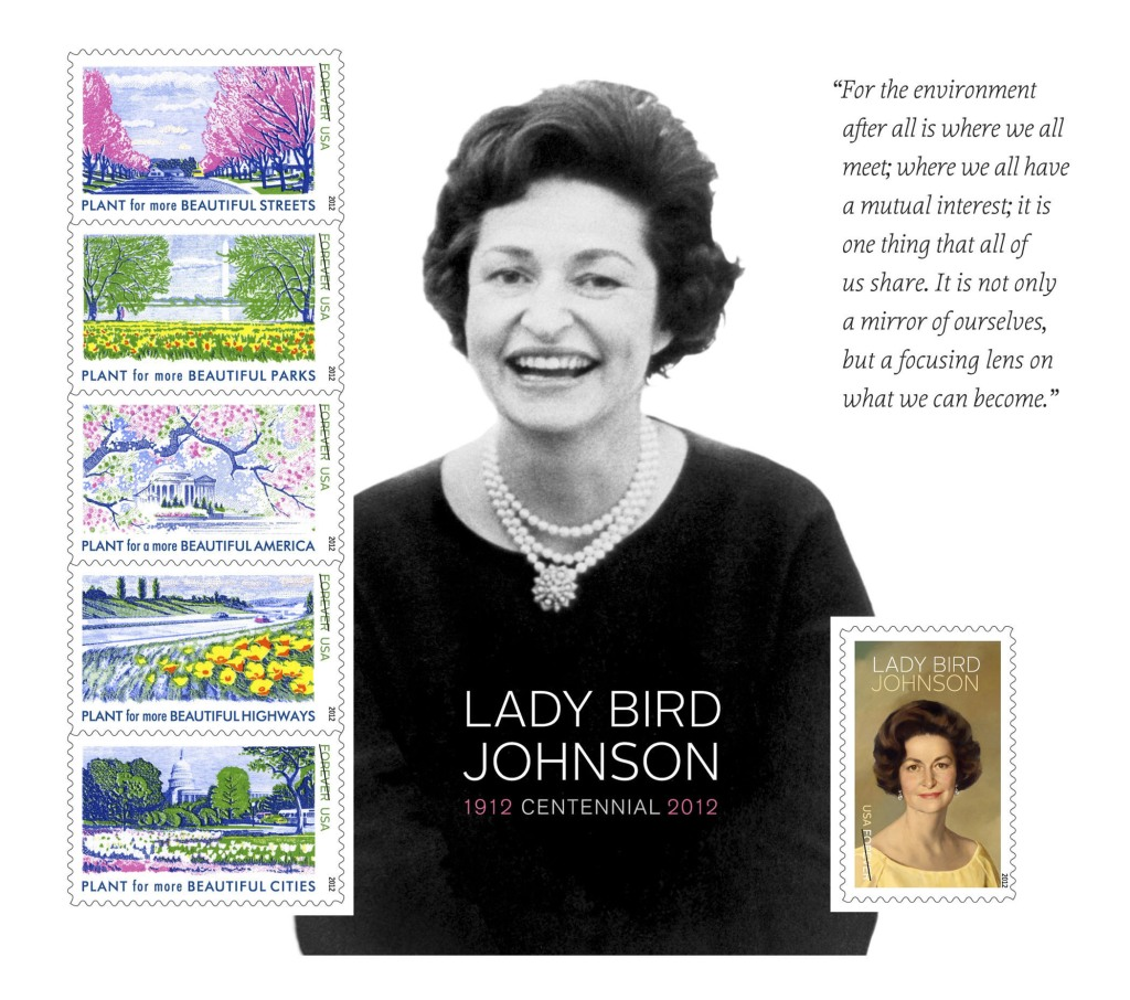 The achievements of Lady Bird Johnson were commemorated today with the dedication of the Lady Bird Johnson souvenir Forever stamps sheet. The ceremony honoring the former First Lady took place at the Lady Bird Johnson Wildflower Center of The University of Texas at Austin. The stamps are available at Post Offices in Texas and the Washington, DC metropolitan area. They can also be purchased at usps.com/stamps, or by calling 800-STAMP24. To learn more about Lady Bird Johnson, centennial-related events, and to download photos and view a video, visit ladybirdjohnson.org.  (PRNewsFoto/U.S. Postal Service)