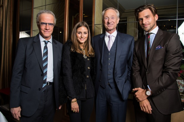 GENEVA, SWITZERLAND - JANUARY 22: (L-R) Actor Christophe Lambert wearing the Montblanc TimeWalker World-Time Hemispheres (Northern Hemisphere) watch, Montblanc friend of the brand Olivia Palermo (wearing Montblanc Star Classique Automatic watch), Lutz Bethge, CEO Montblanc International and Johannes Huebl (wearing Montblanc Star 4810 Chronograph) attend the Montblanc VIP dinner at SIHH 2013 on January 22, 2013 in Geneva, Switzerland. (Photo by Pascal Le Segretain/Getty Images for Montblanc)