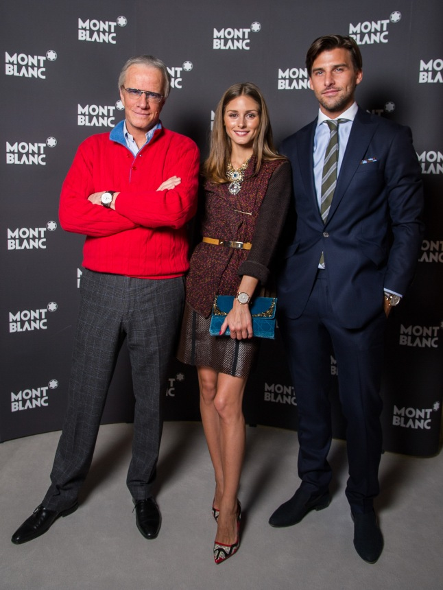 GENEVA, SWITZERLAND - JANUARY 23: (L-R) Actor Christophe Lambert wearing the Montblanc TimeWalker World-Time Hemispheres (Northern Hemisphere), Montblanc friends of the brand Olivia Palermo (wearing Montblanc Star Classique Automatic watch) and Johannes Huebl (wearing Montblanc Star 4810 Chronograph) visit the Montblanc booth during the SIHH 2013 on January 23, 2013 in Geneva, Switzerland. (Photo by Pascal Le Segretain/Getty Images for Montblanc)