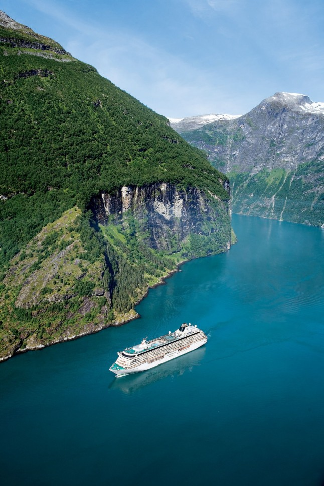 "Crystal Cruises' 2013 North Cape ""Wine and Food""-themed voyage includes passing through the stunning Norwegian fjords, with a stop in Geiranger, Norway. (PRNewsFoto/Crystal Cruises)"