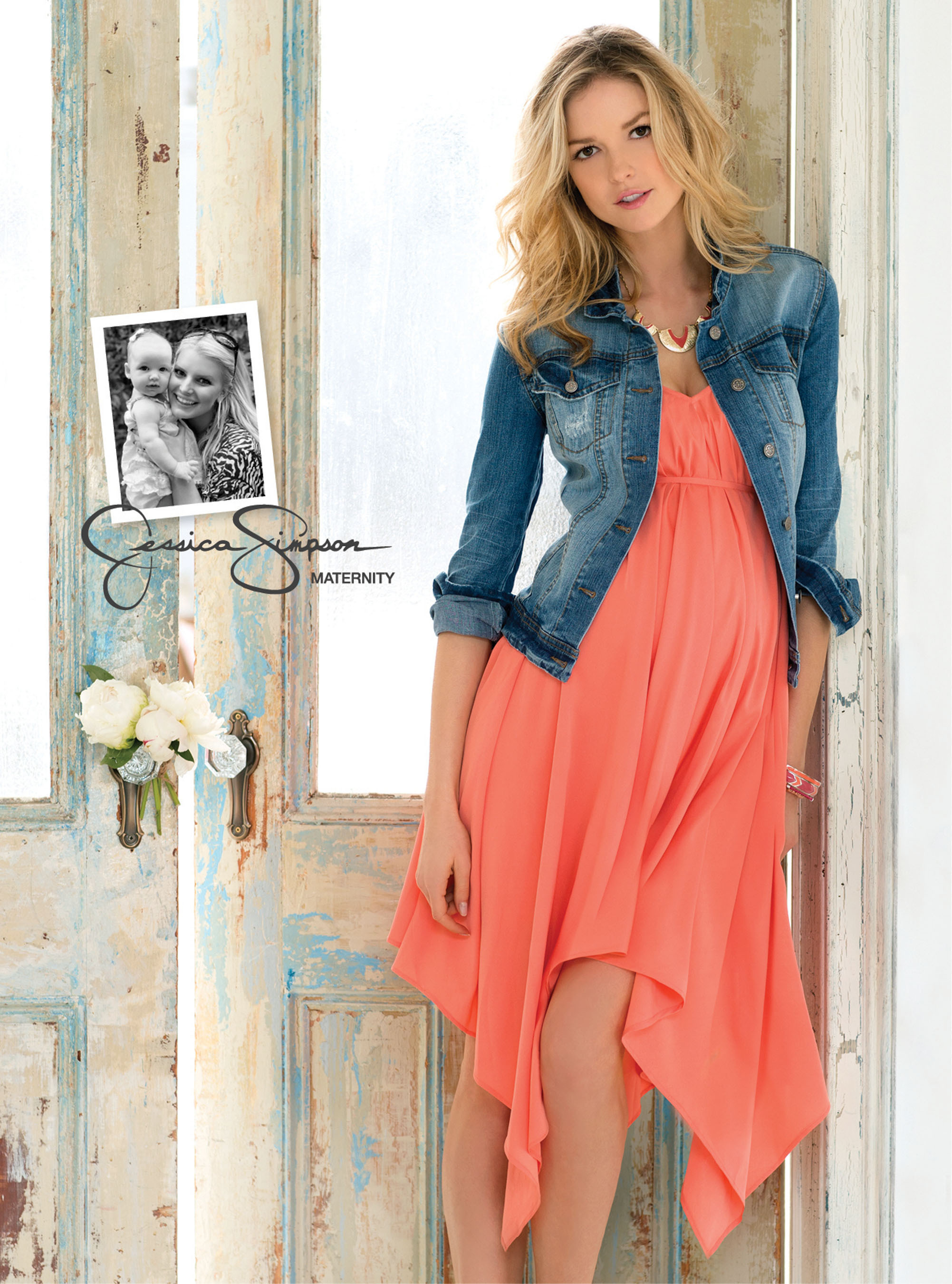 A look from the Jessica Simpson(R) Maternity Spring 2013 collection.  Dress, $59.00 and Denim Jacket, $69.00, available at select Destination Maternity(R), Motherhood(R) Maternity, and Macy's(R) stores in February.  (PRNewsFoto/Destination Maternity Corporation)