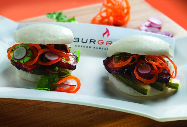 Gordon Ramsay BurGR - Honey-Pig Bao Buns - Roasted pork belly, cucumber, radish, cilantro & honey-hoisen sauce