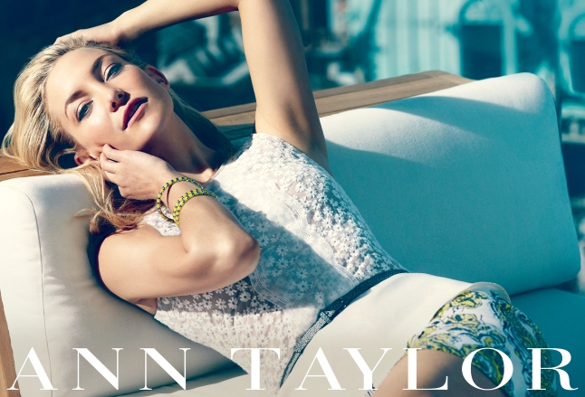 Kate Hudson wears Ann Taylor Floral Peplum Top and Paisley Madison Skirt for the brand's Spring 2013 campaign