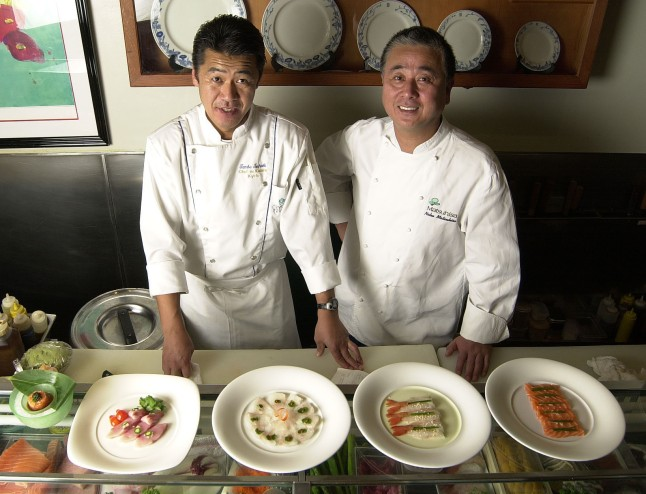 Nobu Matsuhisa with Chef Tamba for Crystal Serenity's Sushi Bar