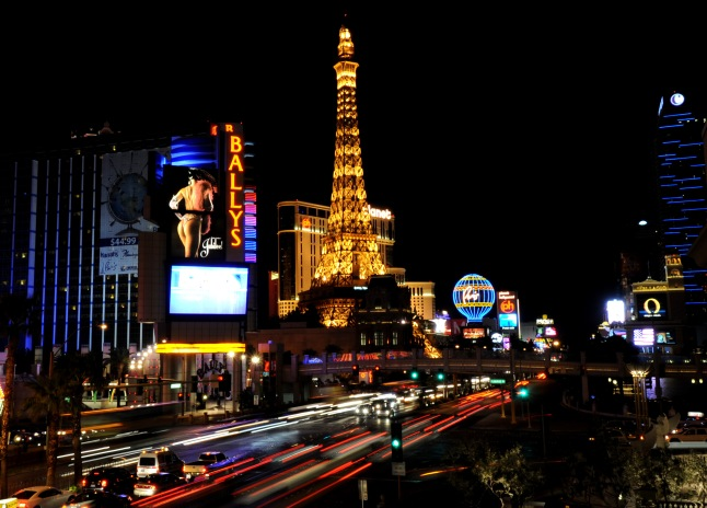 In this photo provided by the Las Vegas News Bureau, the before shot of the Las Vegas Strip going dark for an hour on a busy Saturday night to show support for Earth Hour and emphasizing the importance of energy conservation. Saturday, March 26, 2011. (Photo/Las Vegas News Bureau, Glenn Pinkerton)