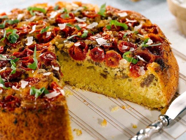 Sweet Yellow Cornbread, Sausage & Tomato Pie with a Garlic Cream Drizzle