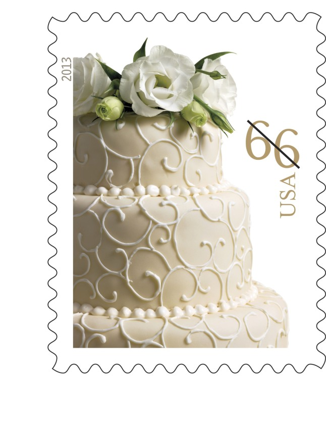 The Postal Service reissued the Wedding Cake stamp in a 66-cent version to accommodate the 1-cent price change that goes into effect Jan. 27. Available in panes of 20, customers may purchase the stamps at usps.com/stamps, by phone at 800-STAMP24 (800-782-6724) and at Post Offices nationwide.  (PRNewsFoto/U.S. Postal Service)