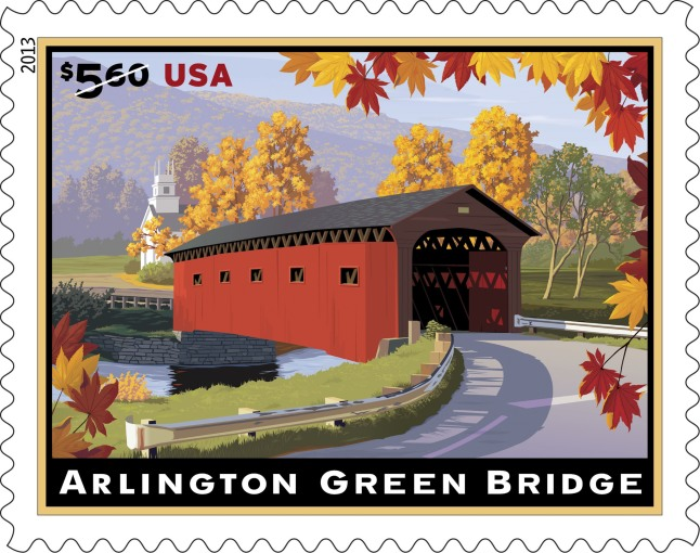 One of Vermont's most photographed covered bridges -- the Arlington Green Bridge -- is commemorated on a $5.60 Priority Mail stamp starting today. The stamps can be purchased at usps.com/stamps, by phone at 800-STAMP24 (800-782-6724) and at Post Offices nationwide in preparation for the Jan. 27 price change. Built in 1852, the bridge takes its name from the village green it overlooks. Included in the stamp image rising above the far end of the bridge is the white steeple of the West Arlington, VT, Chapel on the Green United Methodist Church which was built in 1804.  (PRNewsFoto/U.S. Postal Service)