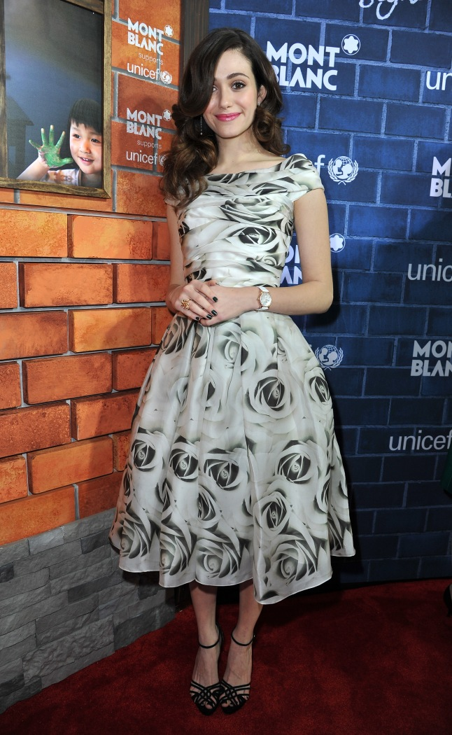 "LOS ANGELES, CA - FEBRUARY 23: Actress Emmy Rossum wearing Montblanc Star Classique Lady Automatic and Montblanc Princesse Grace de Monaco Collection attends a Pre-Oscar charity brunch hosted by Montblanc and UNICEF to celebrate the launch of their new ""Signature For Good 2013"" Initiative with special guest Hilary Swank at Hotel Bel-Air on February 23, 2013 in Los Angeles, California. (Photo by Jonathan Leibson/Getty Images for Montblanc)"