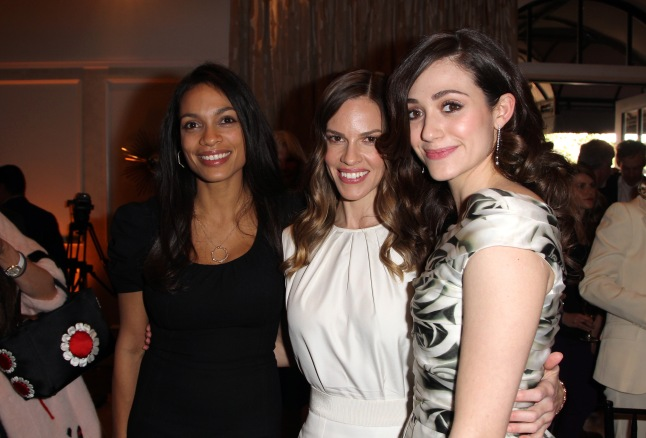 "LOS ANGELES, CA - FEBRUARY 23: (L-R) Actresses Rosario Dawson wearing Montblanc Star 4810 in Yellow Gold, Hilary Swank wearing Montblanc Princesse Grace de Monaco Collection in Red Gold and diamonds and Emmy Rossum wearing Montblanc Star Classique Lady Automatic and Montblanc Princesse Grace de Monaco Collection attends a Pre-Oscar charity brunch hosted by Montblanc and UNICEF to celebrate the launch of their new ""Signature For Good 2013"" Initiative with special guest Hilary Swank at Hotel Bel-Air on February 23, 2013 in Los Angeles, California. (Photo by Lester Cohen/Getty Images for Montblanc)"
