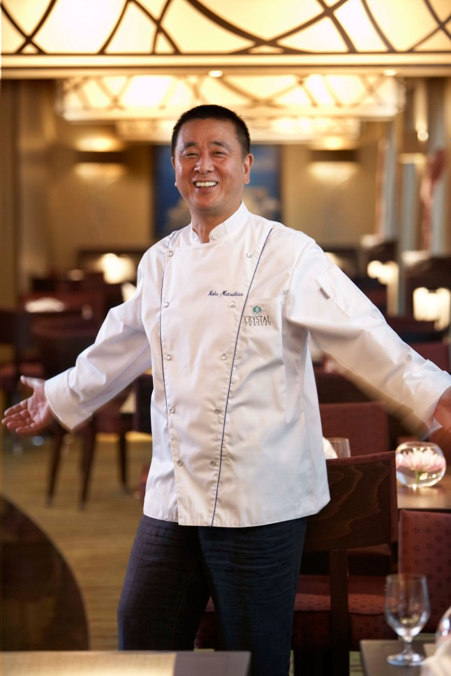 Master Chef Nobu Matsuhisa in his Silk Road and the Sushi Bar on board Crystal Cruises.  (PRNewsFoto/Crystal Cruises)