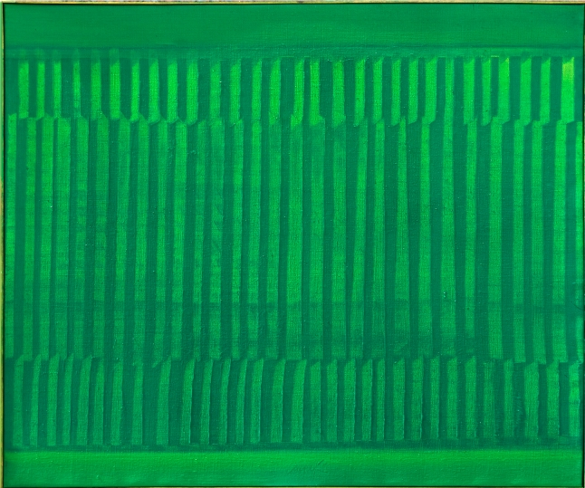 Heinz Mack, Untitled (Dynamic Structure in Green), Acrylic on canvas, 1960, 88 x 105 cm. Courtesy of the artist and Beck & Eggeling, Düsseldorf