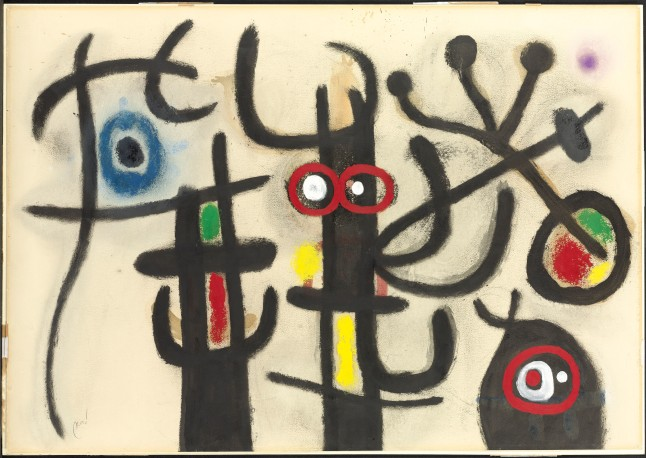 Joan Miró (1893-1983), Personnages et oiseaux . Executed on 23 July 1963, signed 'Miró' (lower left); dated and titled '23/7/63 Personnages et oiseaux'(on the reverse) oil, gouache and charcoal on card, 27½ x 39¼ in. (70 x 99.9 cm.). © Successió Miró / ProLitteris, Zürich