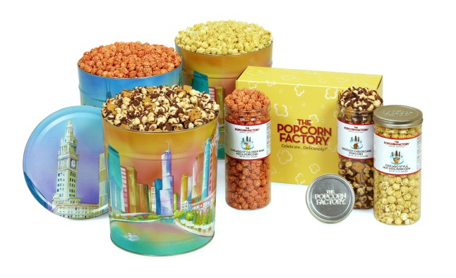 In celebration of Chicago's birthday, The Popcorn Factory is offering gourmet popcorn inspired by Chicago's favorite fare. Flavors include Chicago Deep Dish Pizza, Chicago Hot Dog and Chicago Chocolate Cheesecake. Available until March 31 at www.ThePopcornFactory.com. (PRNewsFoto/The Popcorn Factory)