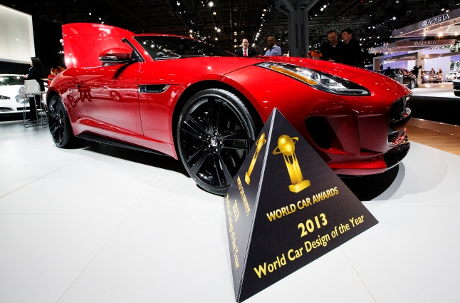The Jaguar F-Type, which has been newly named the 2013 World Car Design of the Year, is on display at the New York International Auto Show on Thursday, March 28, 2013. (Photo By: Michelle Siu for the World Car Awards)