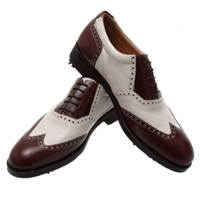 WHITE/BROWN GOLF SHOES