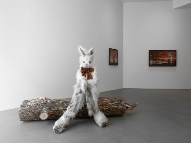 "Marnie Weber, ""Log Lady & Dirty Bunny, 2009"", Mixed media, 3 parts (Dirty Bunny: 142.2cmH x 73.7xmW x 88.9cmD, Log Lady: 39.4cmH x 185.4cm W x 61cmD, Rodent: 16.5cmH x 48.6cmW x 22.2cmD), Courtesy the artist and Simon Lee Gallery"