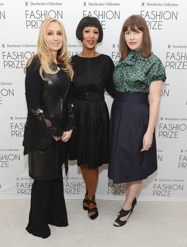 BEVERLY HILLS, CA - APRIL 04: (L-R) Personal shopper Catherine Bloom, designer Gelila Puck, and stylist Penny Lovell attend the US Launch of The Dorchester Collection Fashion Prize 2013 at The Beverly Hills Hotel on April 4, 2013 in Beverly Hills, California. (Photo by Michael Kovac/Getty Images for Dorchester Collection)
