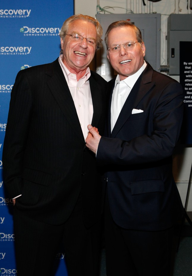 Jerry Spring and Discovery Communications CEO, David Zaslav, attends the Discovery Communications Upfront 2013 at Jazz at Lincoln Center on April 4, 2013 in New York City.