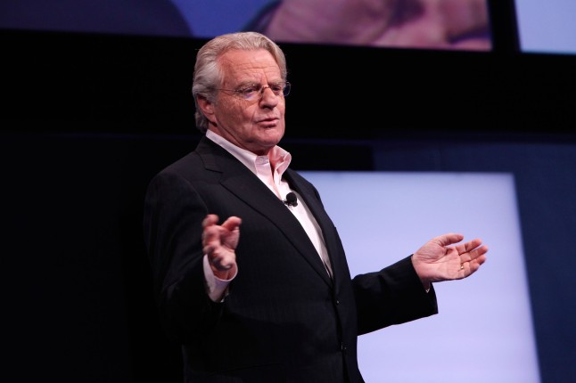 "Jerry Springer from ID's ""Tabloid"" attends the Discovery Communications Upfront 2013 at Jazz at Lincoln Center on April 4, 2013 in New York City."