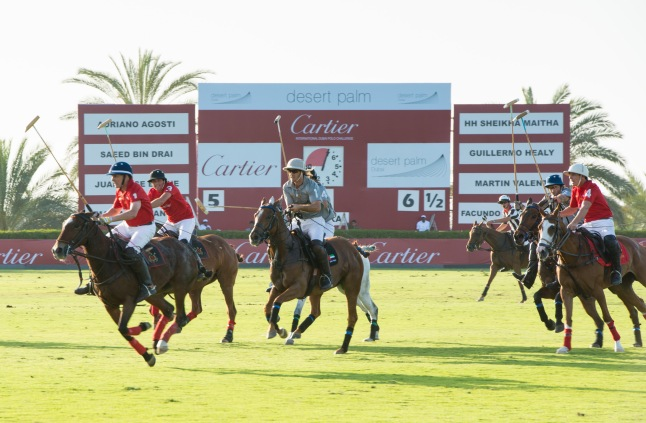 DUBAI, UNITED ARAB EMIRATES - FEBRUARY 22: Team Cartier and Team Desert Palm play in the final during final day at the Cartier International Dubai Polo Challenge at the Desert Palm Hotel on February 22, 2013 in Dubai, United Arab Emirates. The event takes place under the patronage of HRH Princess Haya Bint Al Hussein, wife of HH Sheikh Mohammed Bin Rashid Al Maktoum, Vice President and Prime Minister of UAE Ruler of Dubai. The Cartier International Dubai Polo Challenge is the most celebrated tournament in the desert and one of three Cartier hosts each year including the Royal Cartier International Windsor Polo and Saint-Moritz Snow Polo event. (Photo by Ian Gavan/Getty Images for Cartier)
