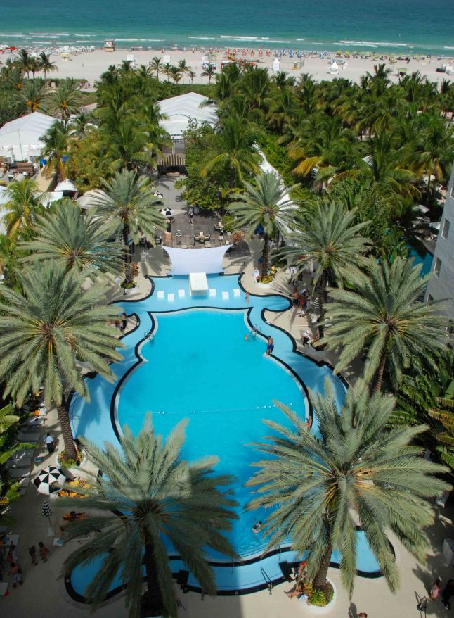 A View from above of the famous pool at the Raleigh Hotel.