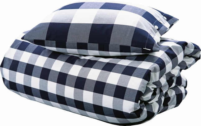 Hastens Blue Check Bed Linens