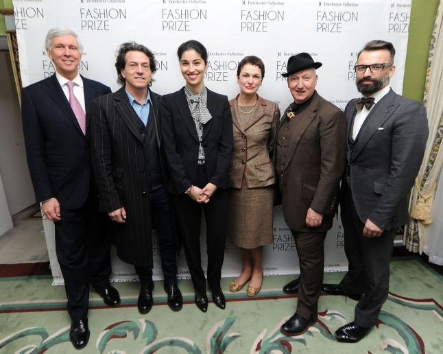 Christopher Cowdray, Stephen Webster,Caroline Issa,Helen R. Smith, Stephen Jones,Nicholas Oakwell attend Launch of Dorchester Collection Fashion Prize 2013 at the Dorcehster Hotel, London