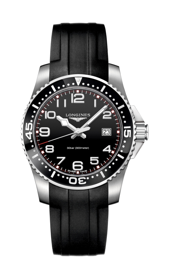"""Diving watches """"par excellence"""": The HydroConquest series aims to become the preferred watch to divers and enthusiasts of aquatic sports. With a diameter of 41 mm and fitted with the exclusive automatic column-wheel movement L688, this chronograph indicates the hours, minutes, the date at 4:30, a 30 minutes counter at 3 o'clock, a 12 hours counter at 6 o'clock and the small second at 9 o'clock. The black dial displays 9 painted Arabic numerals coated with Super-LumiNova®. This model has a stainless steel case with screwed back and crown, a black unidirectional turning bezel and a lateral protection for the crown.  A bracelet in steel lends this model an additional sporty touch."""