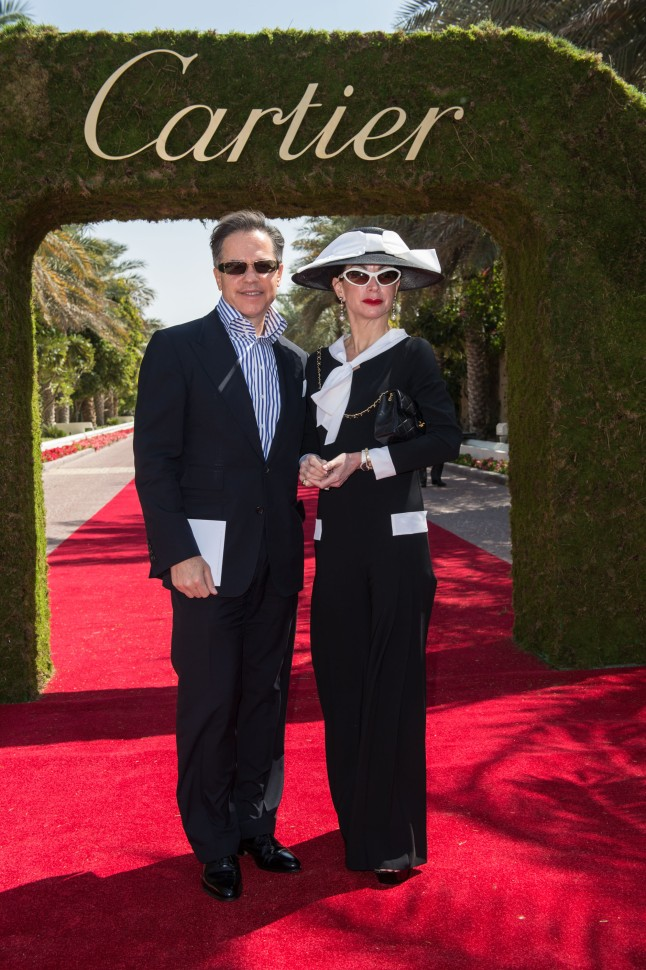 DUBAI, UNITED ARAB EMIRATES - FEBRUARY 22: Mr & Mrs Cantonnet attend final day at the Cartier International Dubai Polo Challenge at the Desert Palm Hotel on February 22, 2013 in Dubai, United Arab Emirates. The event takes place under the patronage of HRH Princess Haya Bint Al Hussein, wife of HH Sheikh Mohammed Bin Rashid Al Maktoum, Vice President and Prime Minister of UAE Ruler of Dubai. The Cartier International Dubai Polo Challenge is the most celebrated tournament in the desert and one of three Cartier hosts each year including the Royal Cartier International Windsor Polo and Saint-Moritz Snow Polo event. (Photo by Ian Gavan/Getty Images for Cartier)