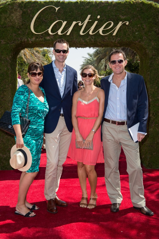 DUBAI, UNITED ARAB EMIRATES - FEBRUARY 22: Peter Leruse, Jennifer Leruse, Christina Wiffin and Damien Wiffin attend final day at the Cartier International Dubai Polo Challenge at the Desert Palm Hotel on February 22, 2013 in Dubai, United Arab Emirates. The event takes place under the patronage of HRH Princess Haya Bint Al Hussein, wife of HH Sheikh Mohammed Bin Rashid Al Maktoum, Vice President and Prime Minister of UAE Ruler of Dubai. The Cartier International Dubai Polo Challenge is the most celebrated tournament in the desert and one of three Cartier hosts each year including the Royal Cartier International Windsor Polo and Saint-Moritz Snow Polo event. (Photo by Ian Gavan/Getty Images for Cartier) *** Local Caption *** Peter Leruse; Jennifer Leruse; Christina Wiffin, Damien Wiffin