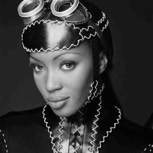 British supermodel Naomi Campbell wearing a stiched fetish style leather outfit and goggles on her head, 1993. (Photo by Terry O'Neill/Getty Images)