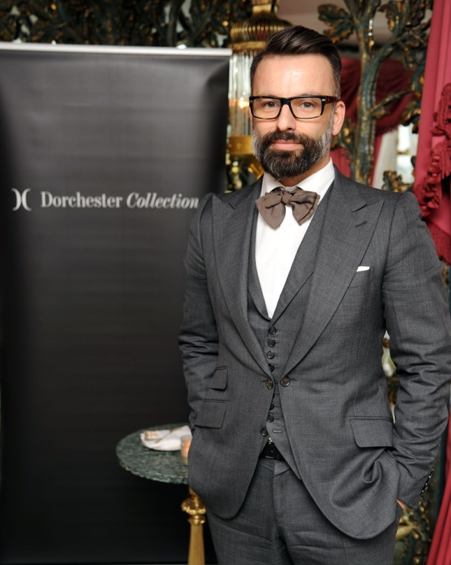 Nicholas Oakwell attends Launch of Dorchester Collection Fashion Prize 2013 at the Dorchester Hotel, London