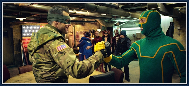 "L to R) Colonel Stars and Stripes (JIM CARREY) makes a plan with Kick-Ass (AARON TAYLOR-JOHNSON) in the follow-up to 2010's irreverent global hit: ""Kick-Ass 2""."