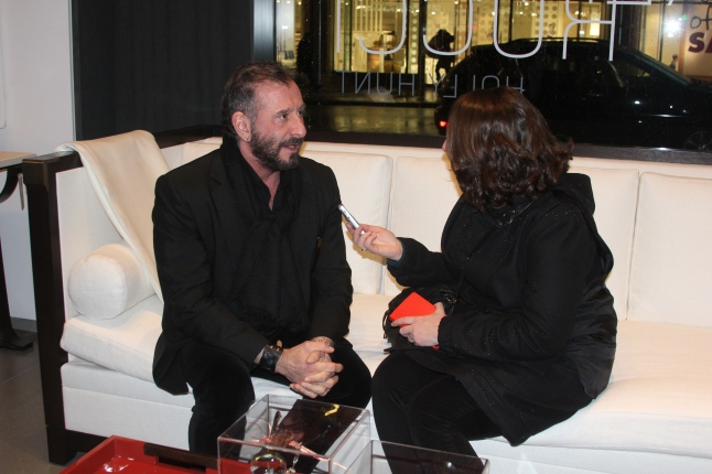 Ralph Rucci being interviewed at the launch event hosted in tandem with Margaret Russell, Editor In Chief of Architectural Digest, in early spring. (Credit: Richard Speigel/www.thefashiontribune.com)