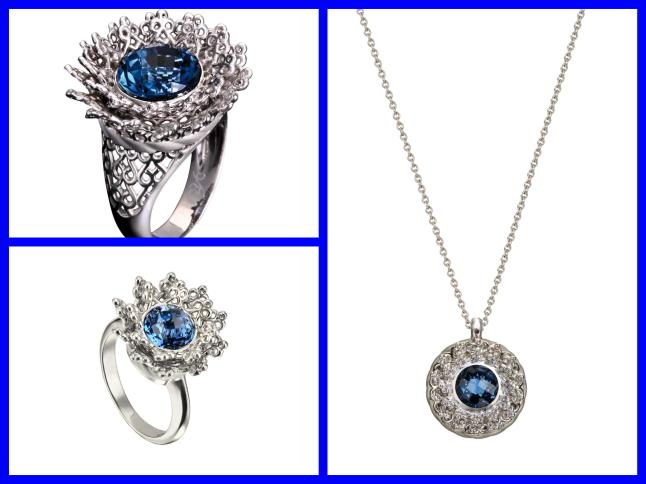 Carrera y Carrera Madrid - TESOROS DEL IMPERIO Collection - Reina Mini (and Maxi ) Rings and Pendant in White Gold & Blue Topaz