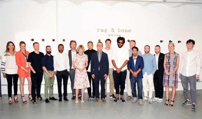 The 2013 CFDa/Vogue fashion Fund finalists with anna wintour and the CFDA's Steve Kolb (center) at the Rag & Bone Studio