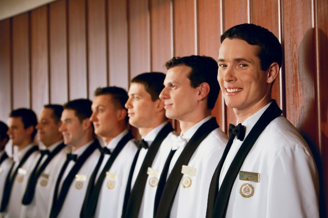 Crystal Cruises(TM) European-trained waiters stand at the ready to serve.  (PRNewsFoto/Crystal Cruises)
