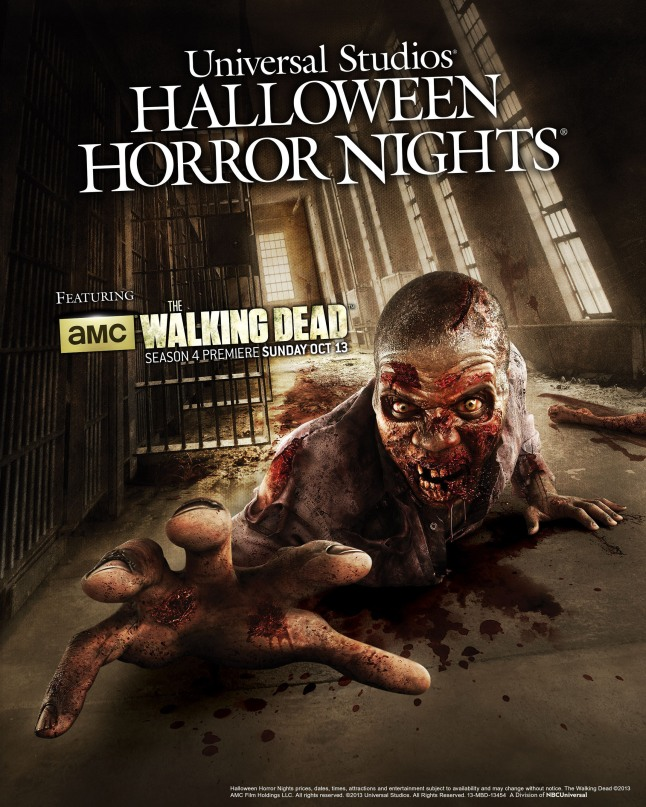 "Beginning September 20, AMC's ""The Walking Dead"" will come to life at Universal Studios Hollywood and Universal Orlando Resort's Halloween Horror Nights events with all-new terrifying mazes inspired by Season 3 of the critically-acclaimed, award-winning television series. The eerily authentic and disturbingly real maze experiences will place guests at the heart of the show's once impenetrable prison, the West Georgia Correctional Facility, now overrun by hordes of flesh-eating walkers. (c) 2013 Universal Orlando Resort.  All rights reserved.  (PRNewsFoto/Universal Orlando Resort)"