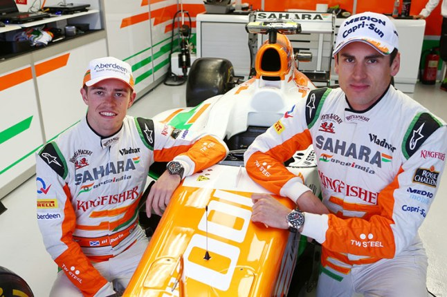 Force India Drivers, Paul Di Resta (left) & Adrian Sutil (right) modeling the new TW Steel Sahara Force India watches' (Photo Credit: James Moy / Sahara Force India)
